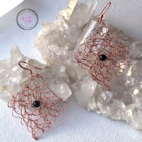 Black Onyx Copper Wire Crochet Earrings